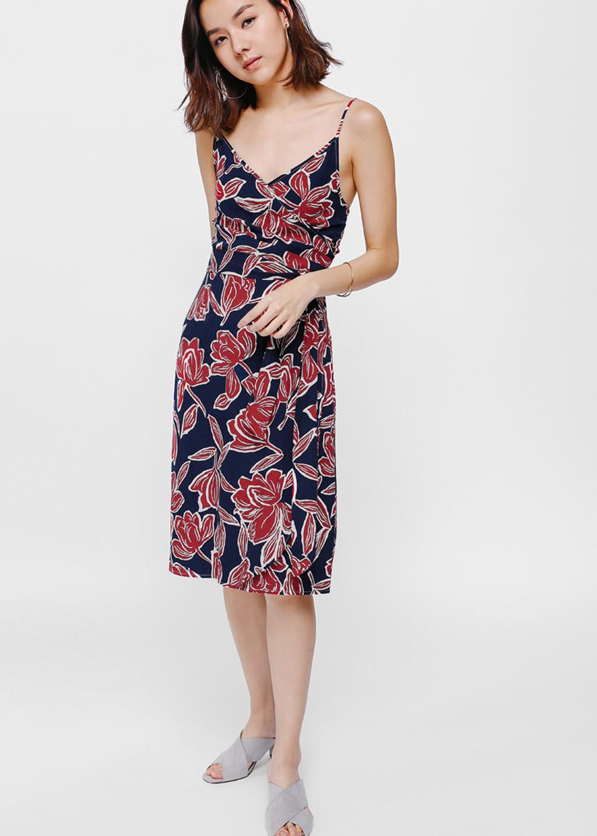 Reanda Ruched Printed Sash Midi Dress