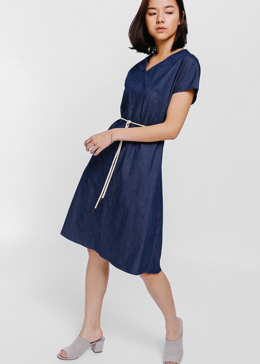 Olyena Rope Tie Denim Midi Dress
