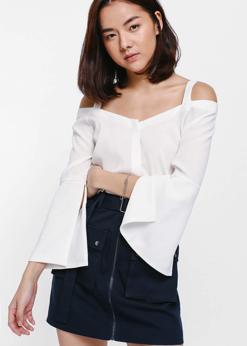 Thepella Off Shoulder Button Front Top