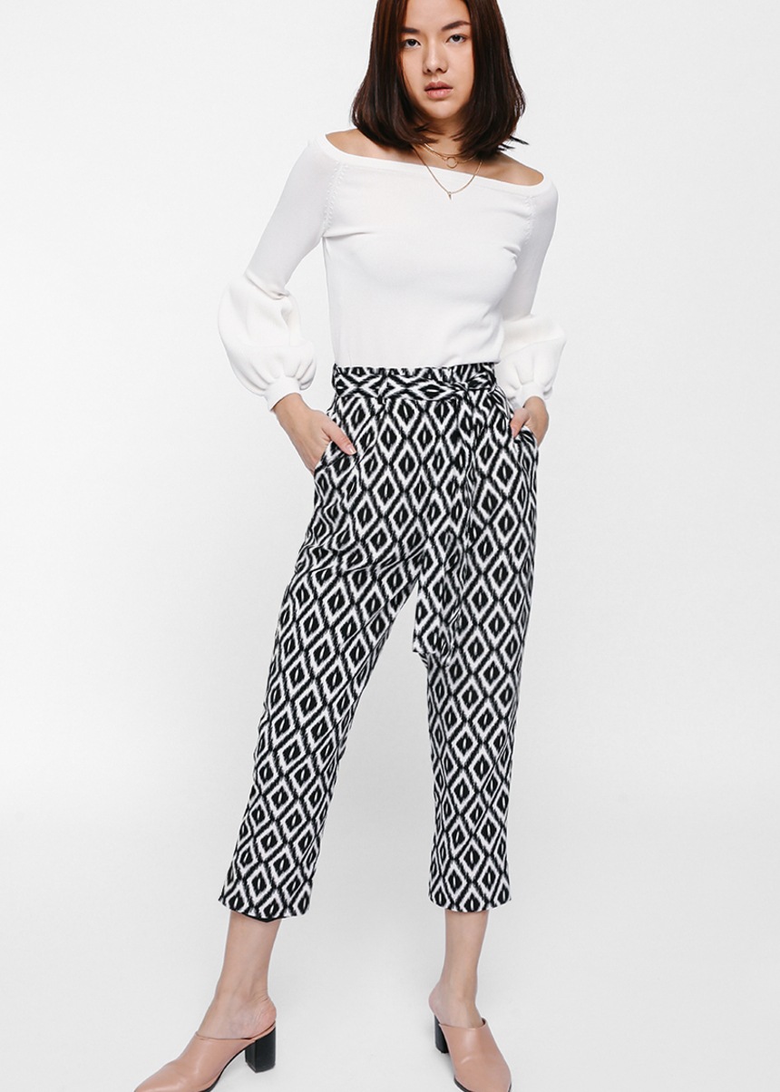 Francais Printed Sash Pants