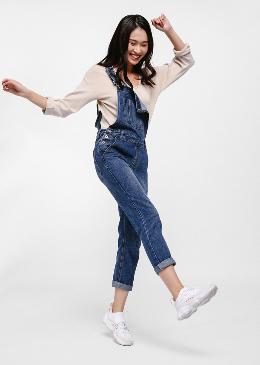 Leslie Straight Leg Denim Dungarees
