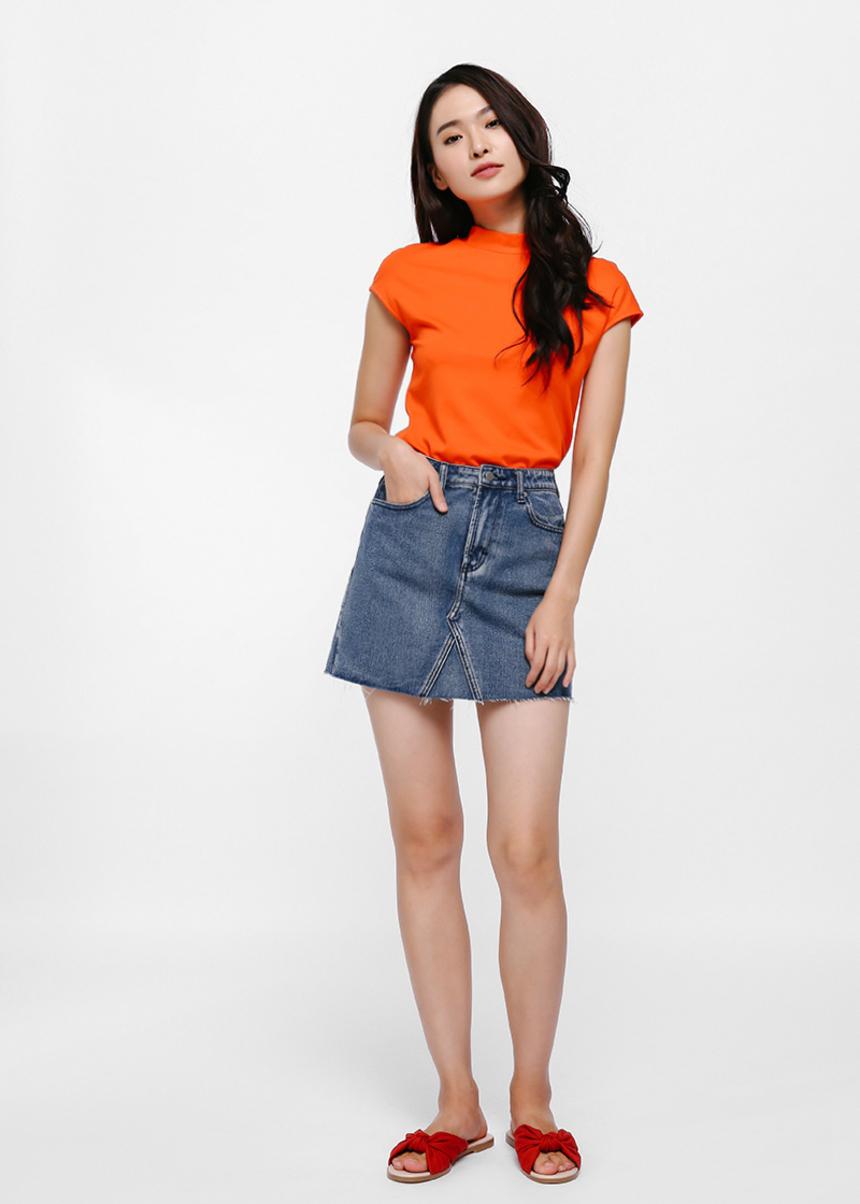 Blake A-Line Denim Miniskirt - Medium Wash