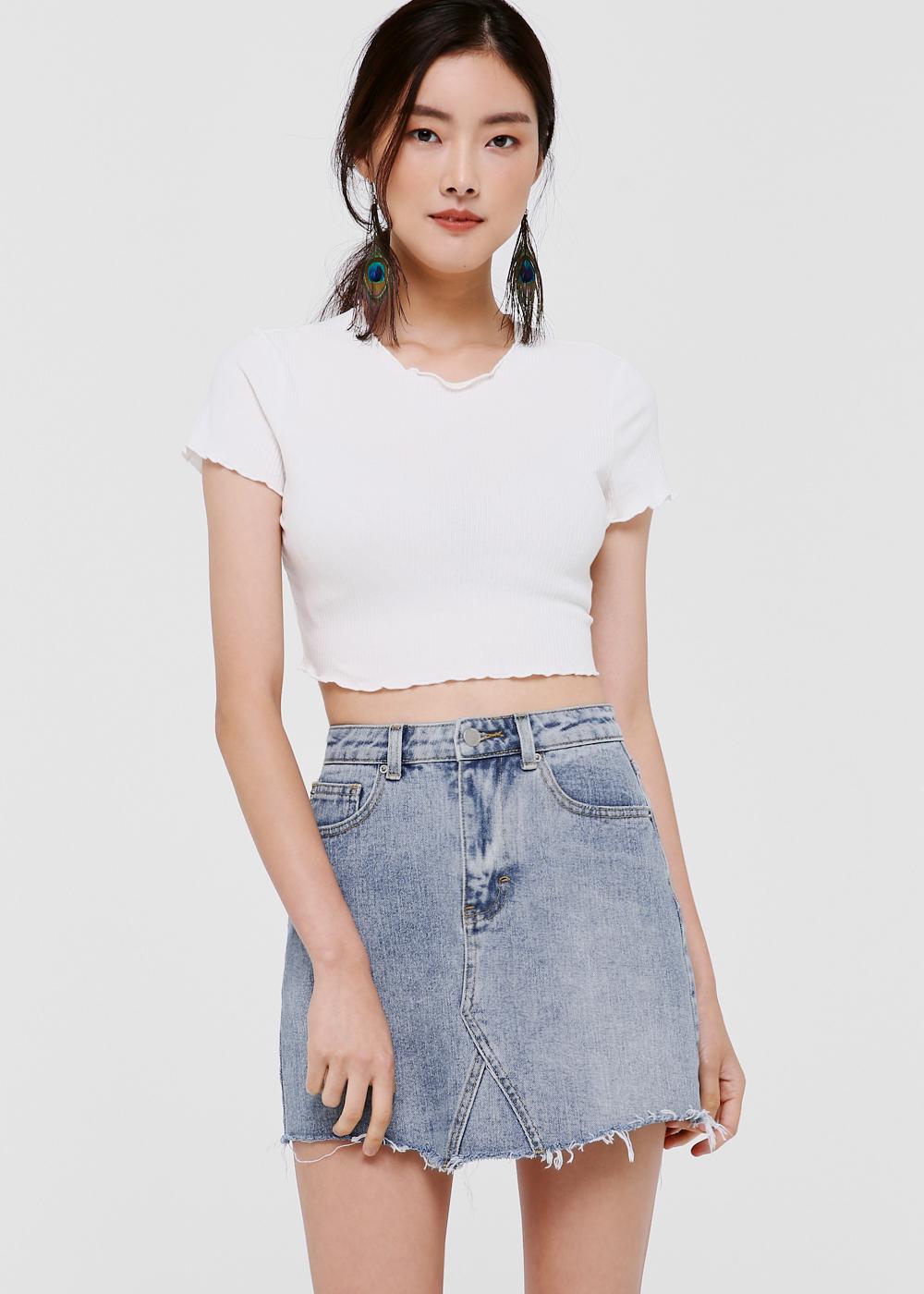 Blake A-Line Denim Miniskirt