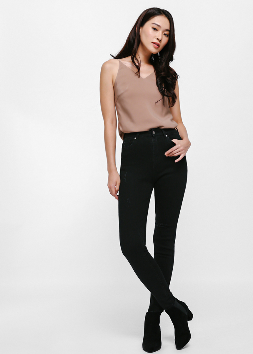 Greta High-rise Skinny Jeans - Black
