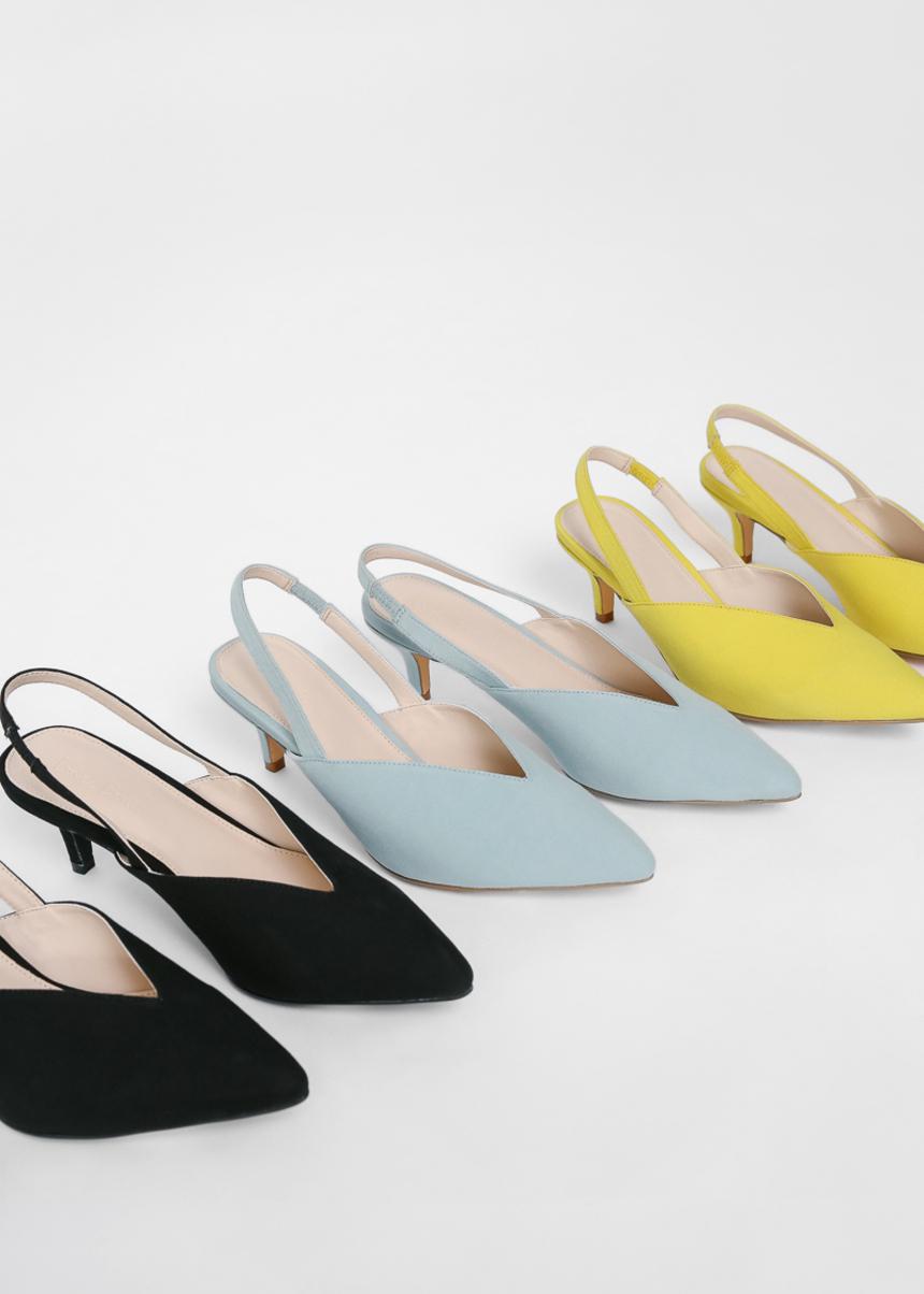 Heulena Pointed Toe Slingback Heels