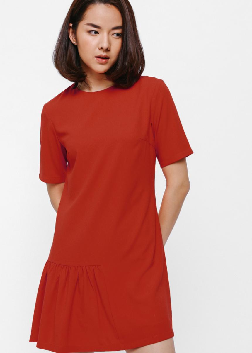 Aeska Asymmetrical Ruffle Hem Dress