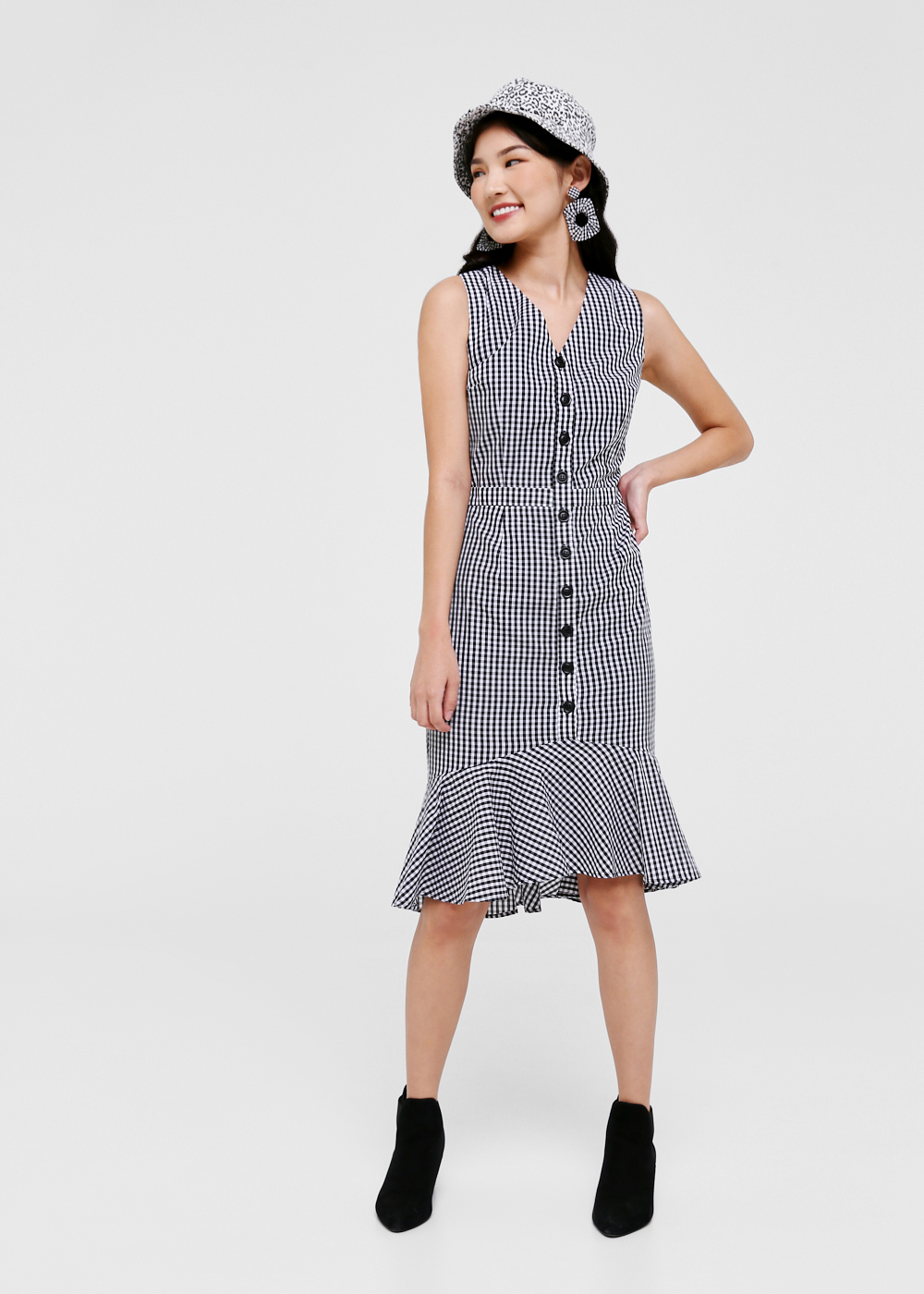 Delilah Gingham Flare Hem Midi Dress