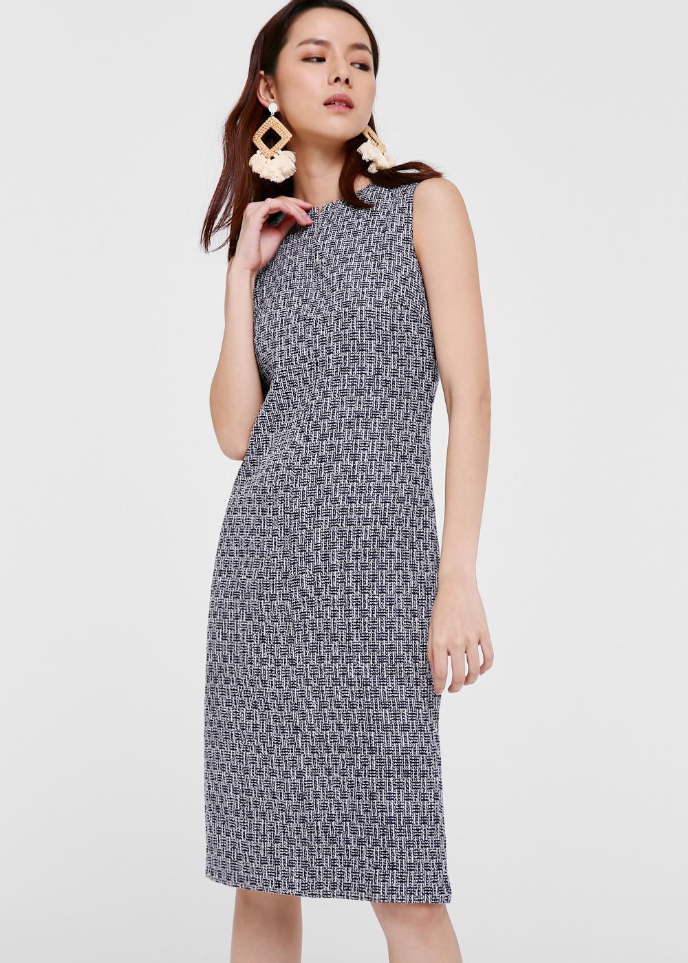 Katlyn Tweed Notch Neck Midi Dress