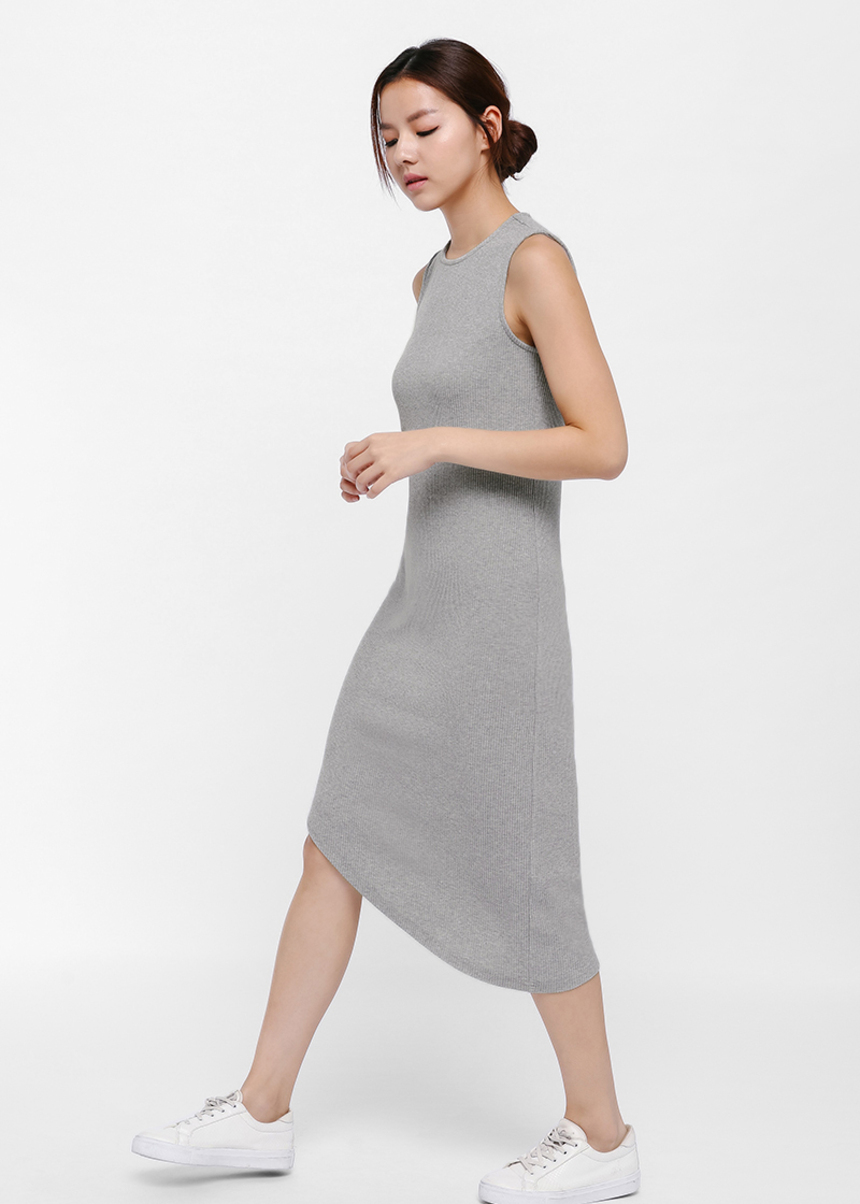 Jess Ribbed Asymmetrical Hem Midi Dress