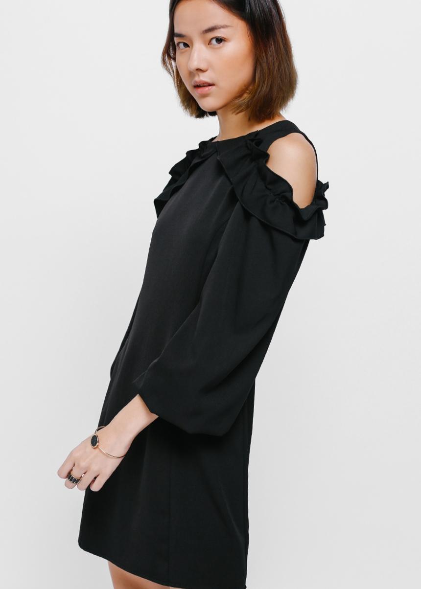 Sidona Ruffle Cutout Shoulder Dress