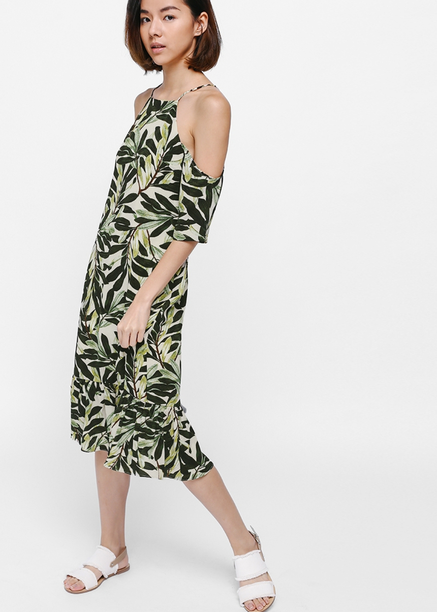 Oshara Printed Off Shoulder Midi Dress
