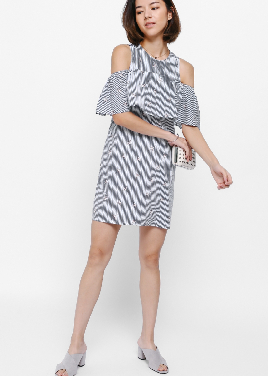 Weslyn Printed Cutout Shoulder Dress