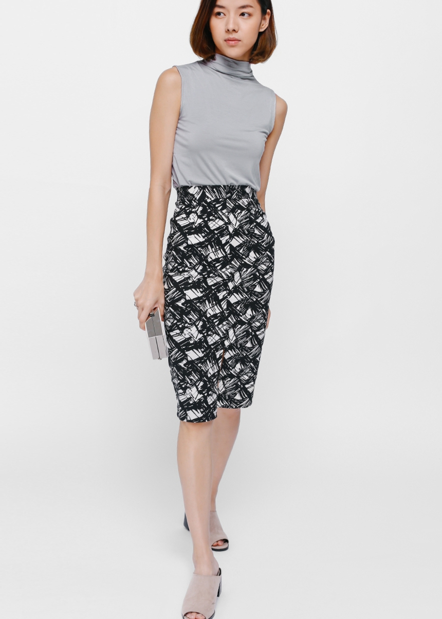 Mignon Printed Slit Pencil Skirt