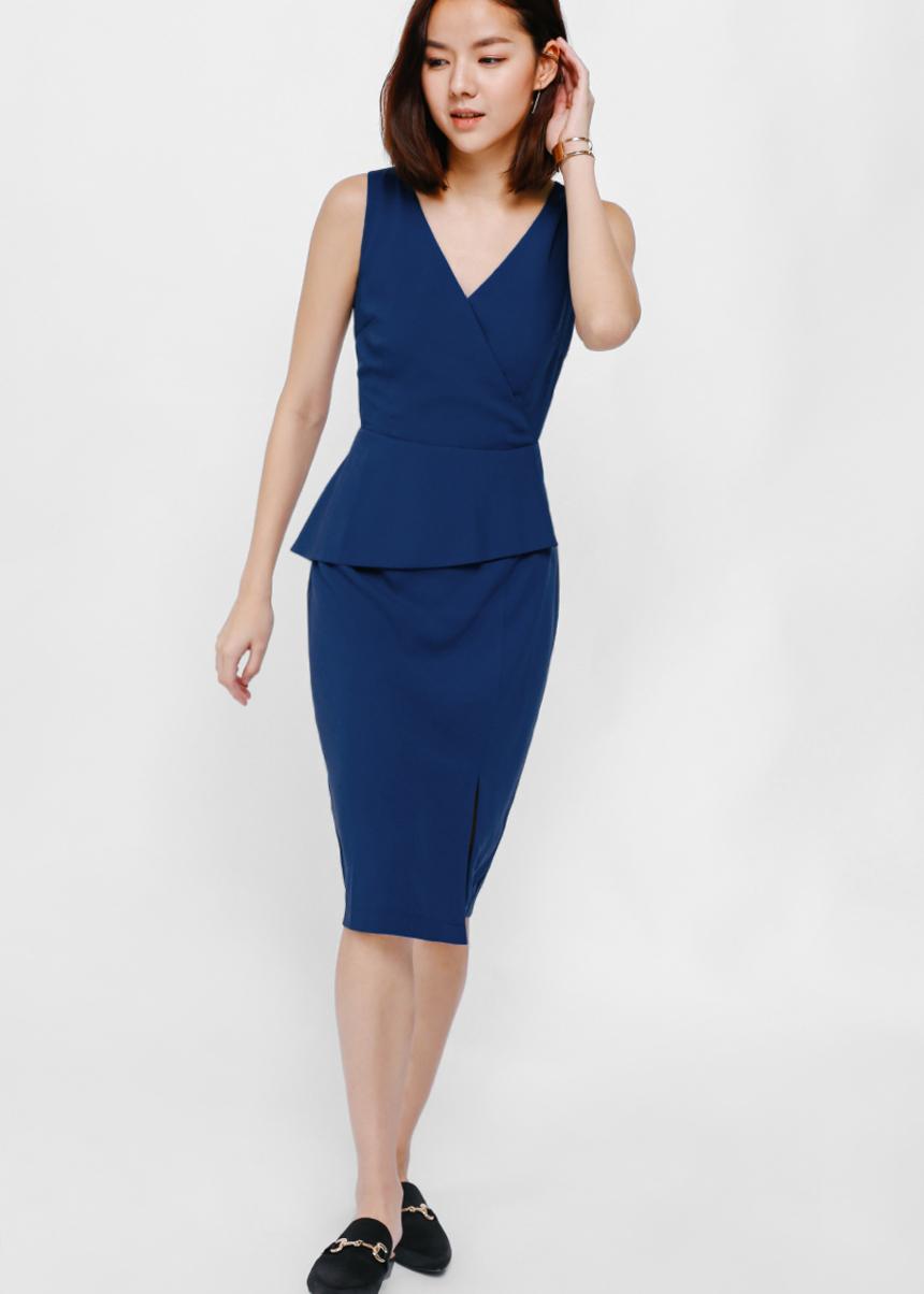 Yubi Asymmetrical Peplum Midi Dress