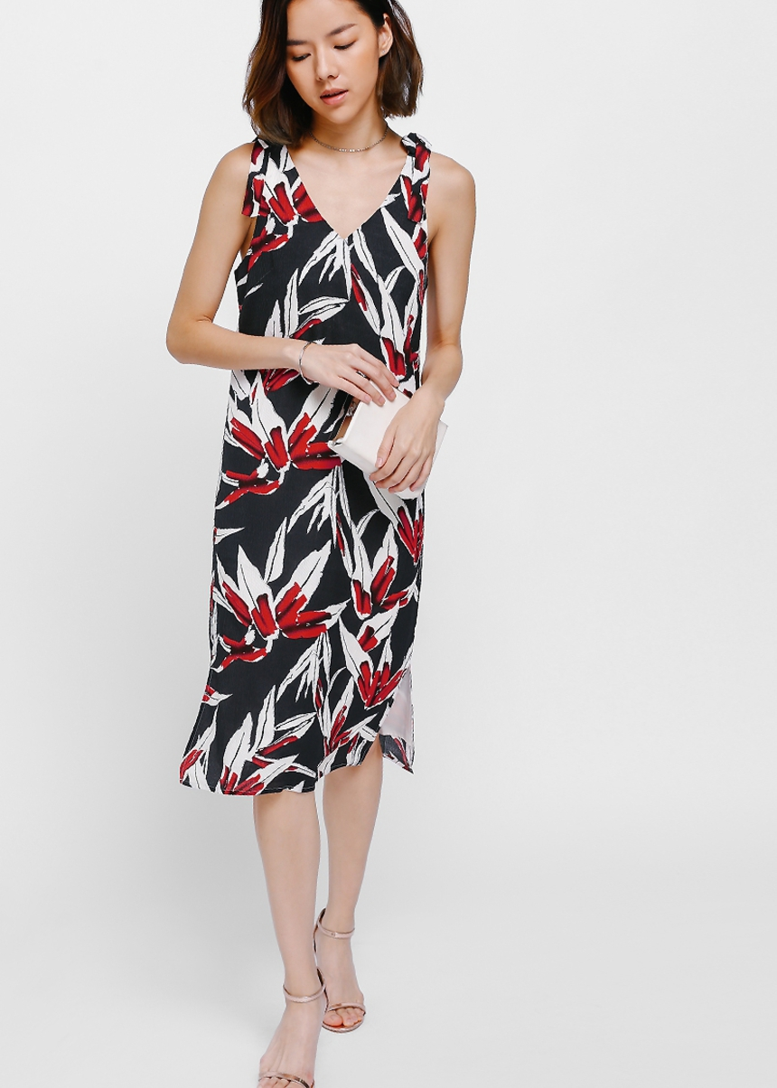 Rylette Knotted Shoulder Printed Dress