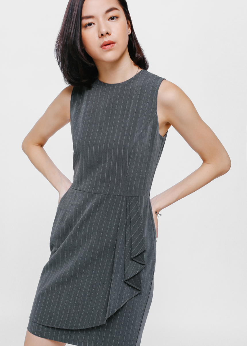 Larolein Pinstriped Cascade Dress