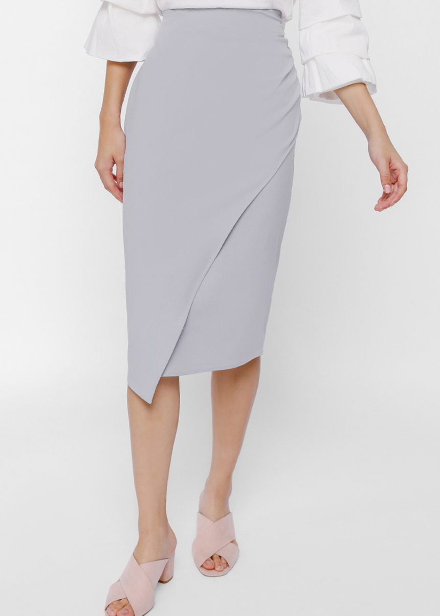 Herzi Ruched Crossover Pencil Skirt