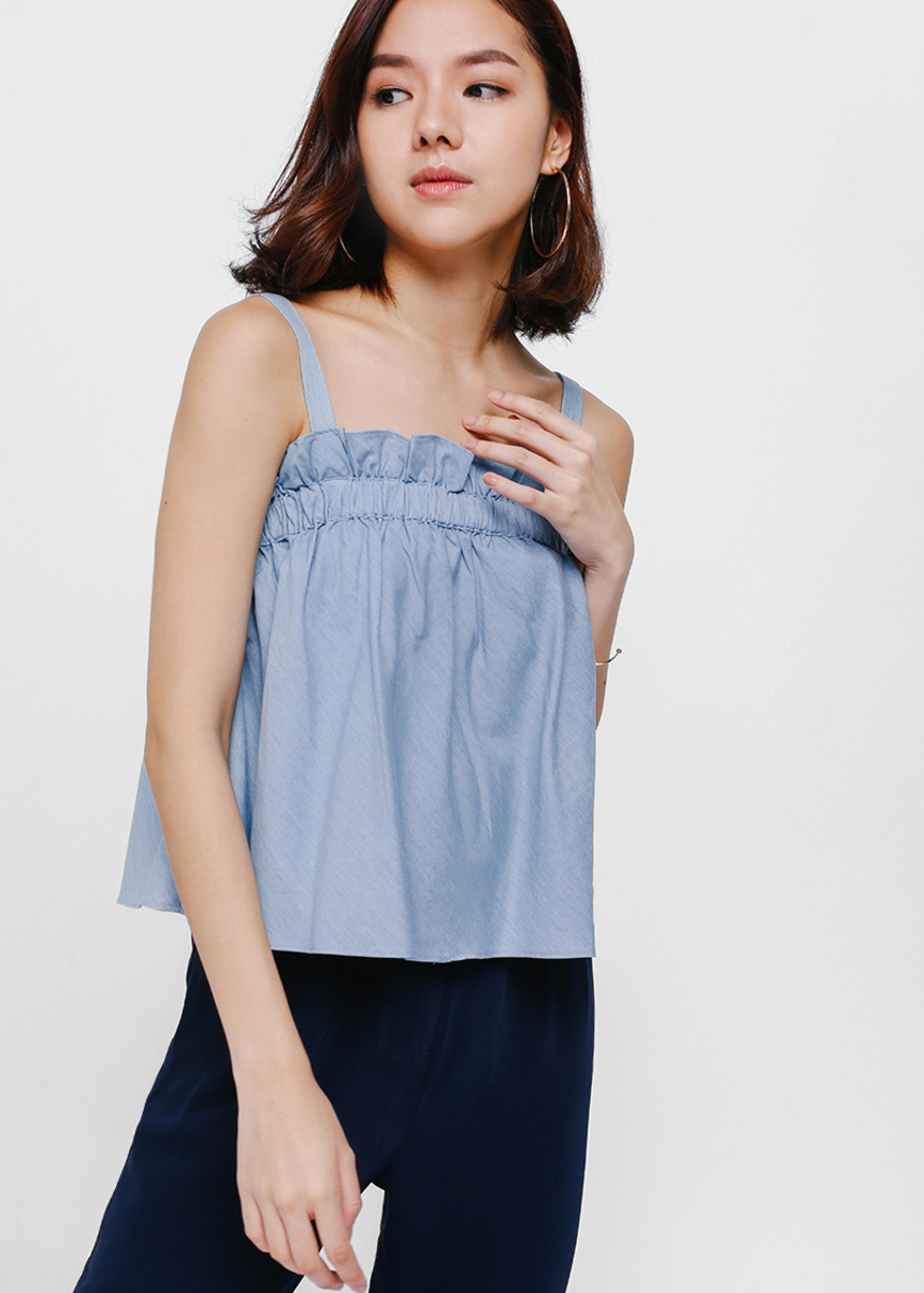 Kelsha Gathered Ruffle Denim Top