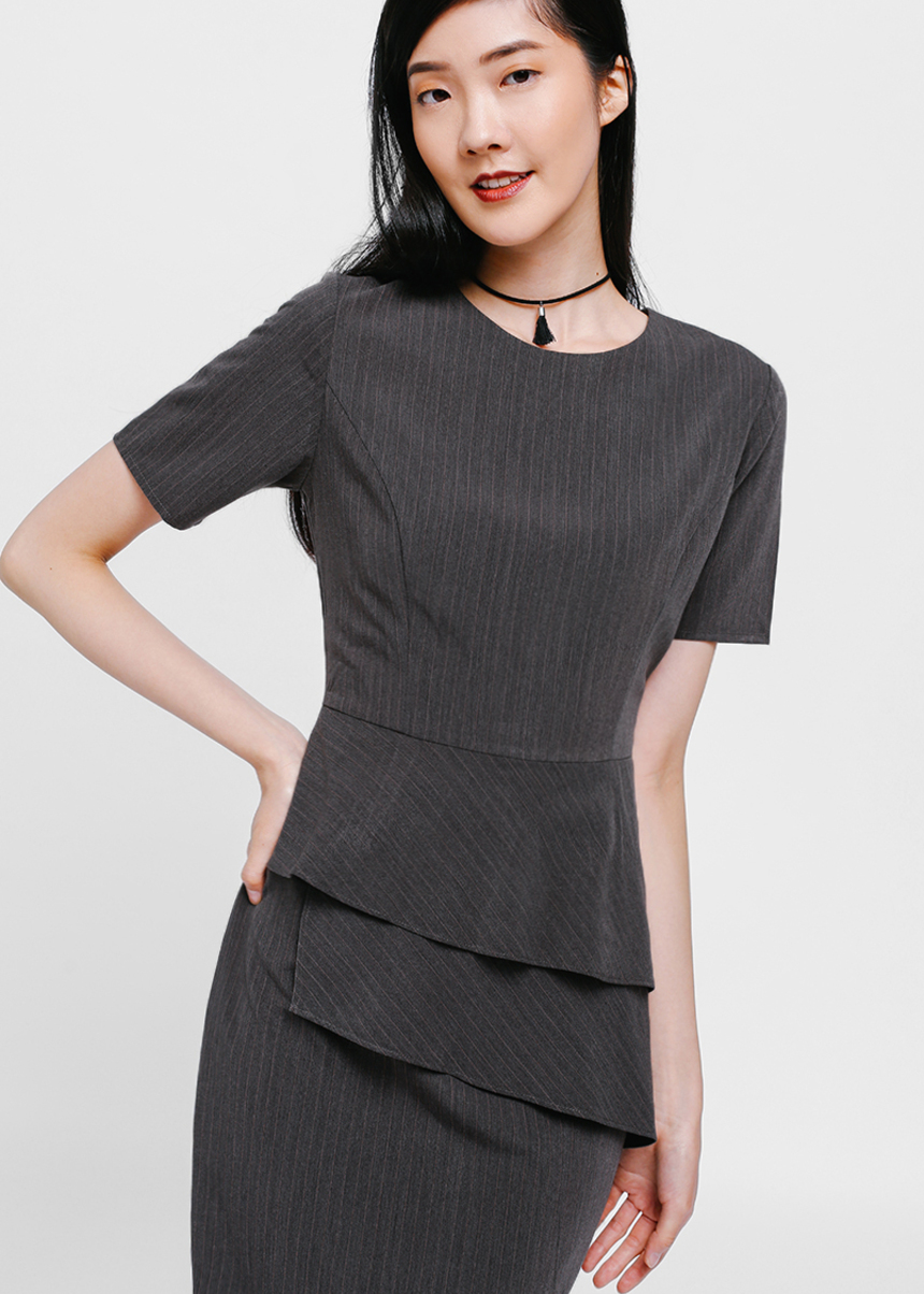 Amayn Pinstripe Asymmetrical Ruffle Dress