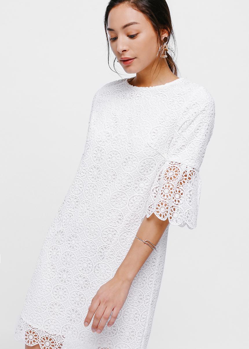 Nara Flare Sleeve Lace Dress