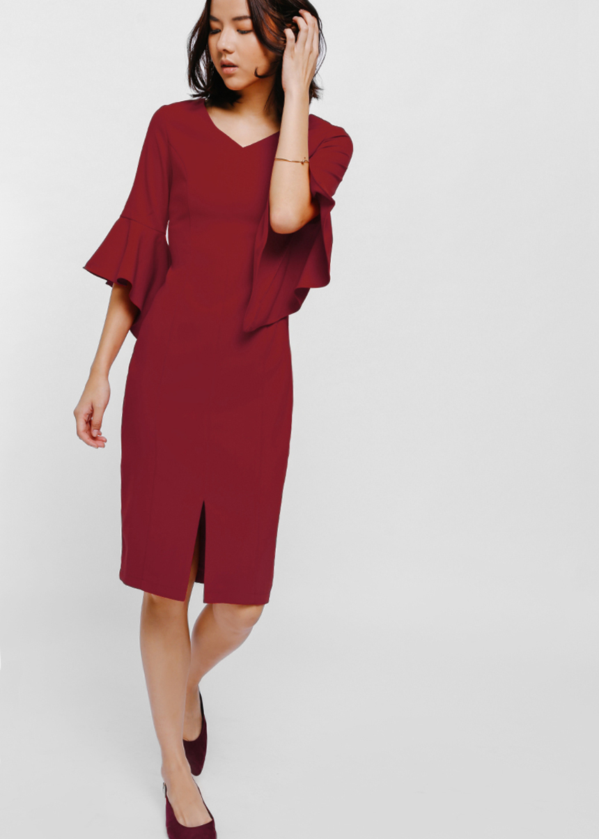 Eleresta Bell Sleeve Midi Dress