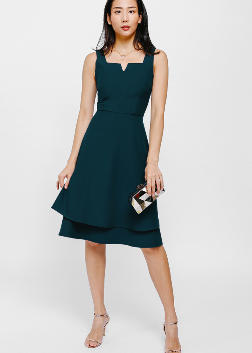 Lyande Notched Layered Midi Dress