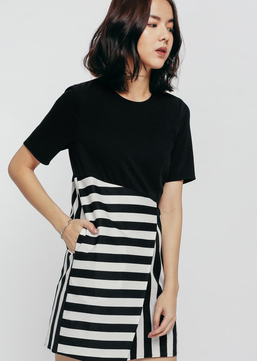 Riodna Contrast Striped Shift Dress