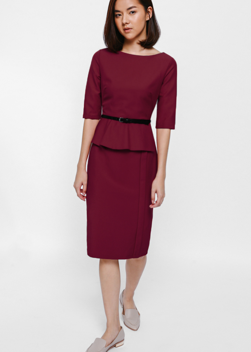 Melges Peplum Midi Dress