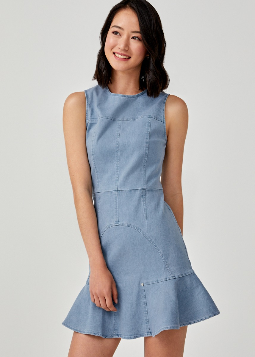 Fenima Fluted Hem Denim Dress