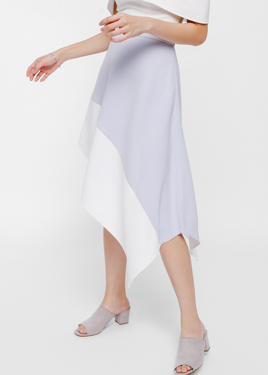Skyre Asymmetrical Colour Block Skirt