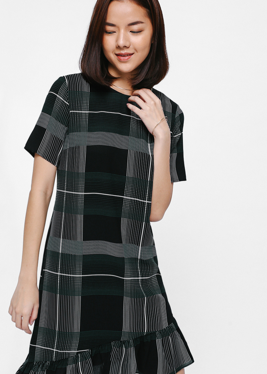 Julipe Plaid Ruffle Hem Dress