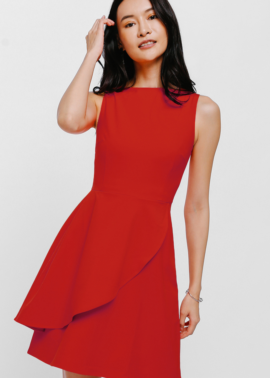 Wrylene Asymmetrical Cascade Layer Dress