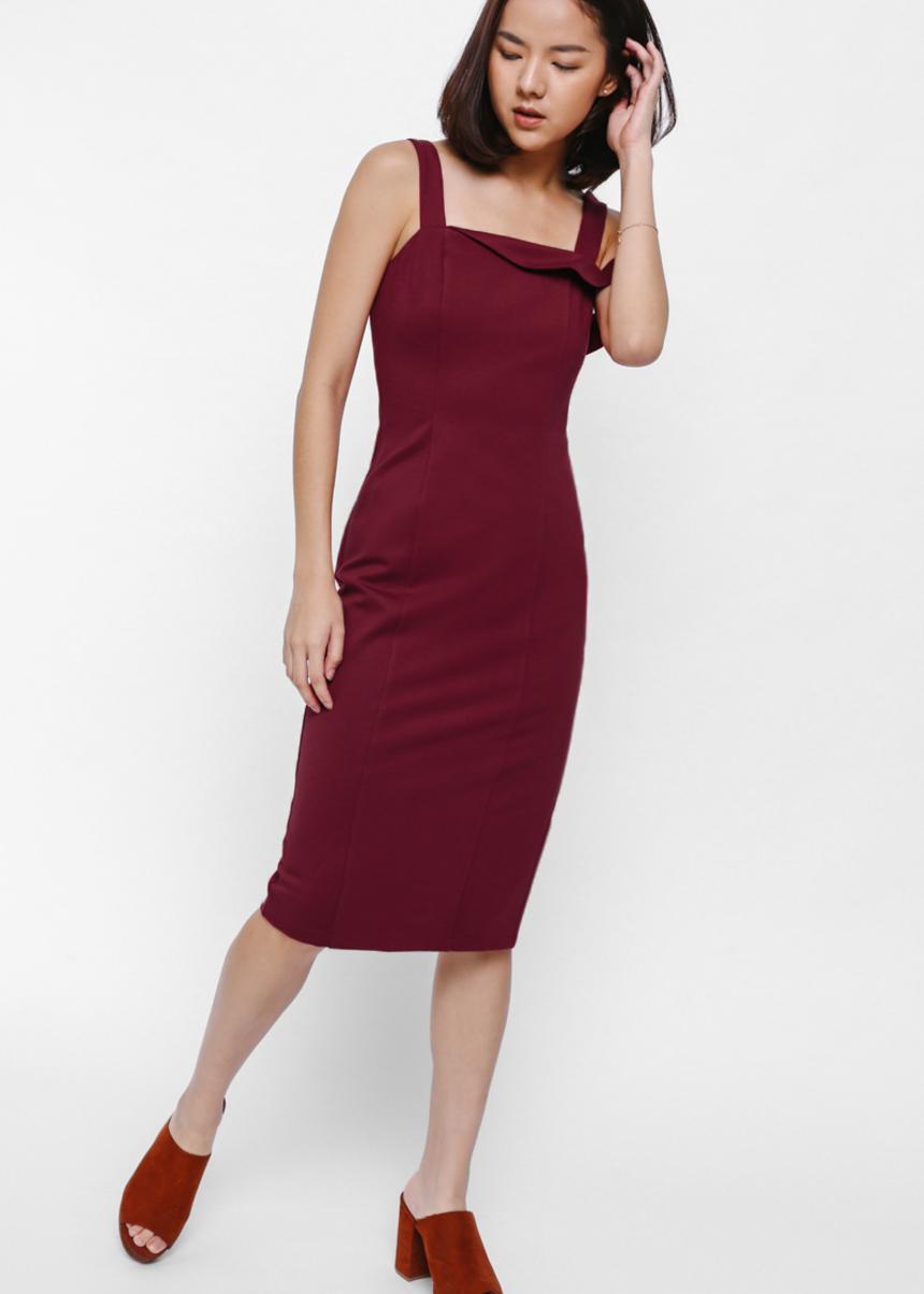 Naylia Asymmetrical Off Shoulder Bodycon Dress