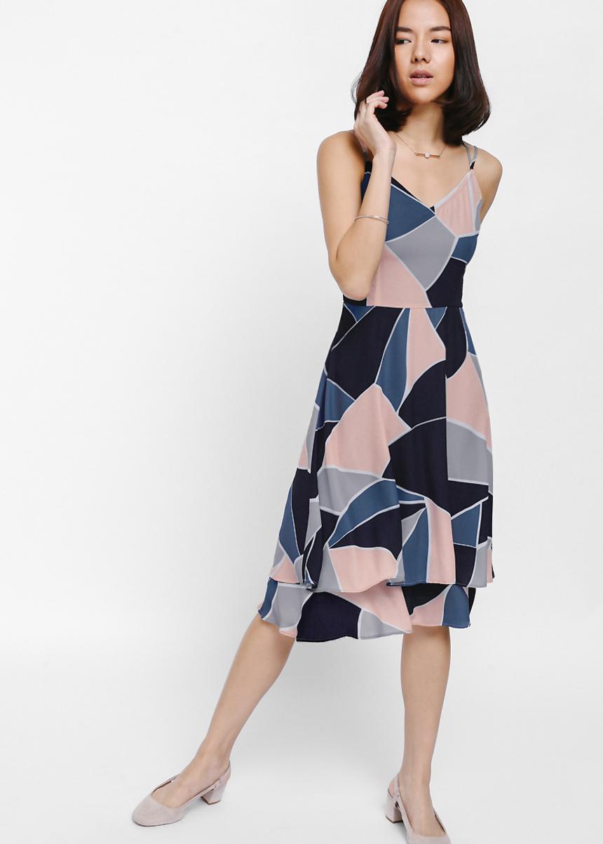 Modanna Layered Printed Midi Dress