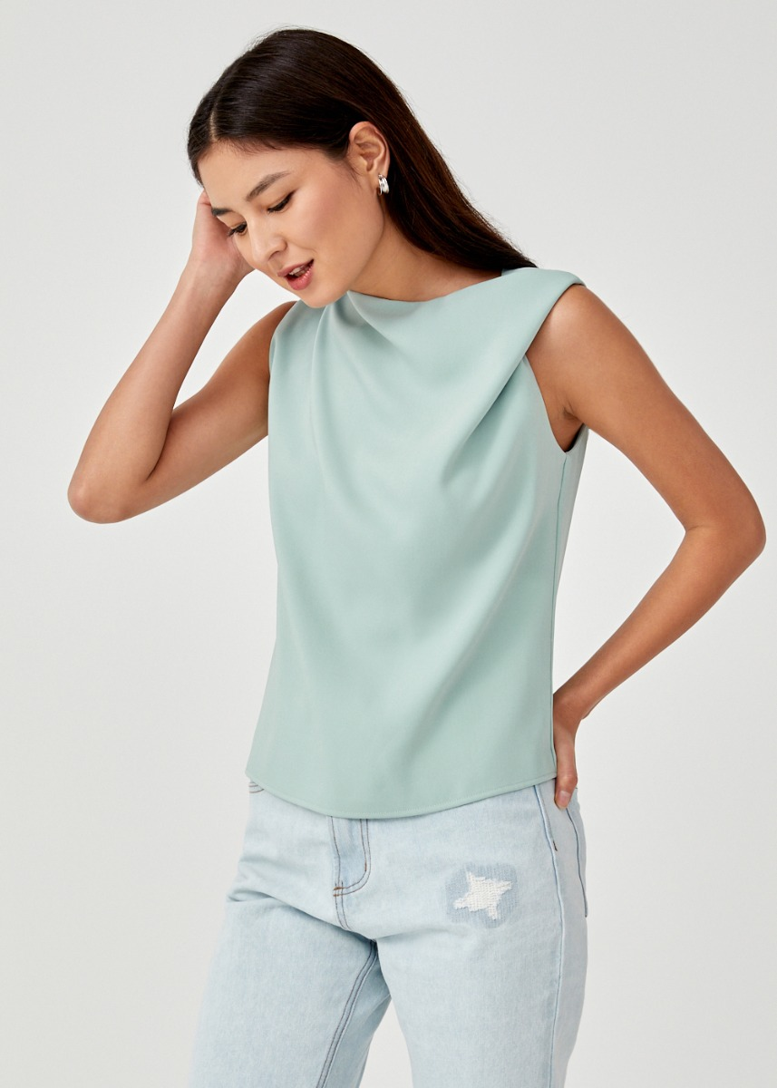 Lindea High Drape Neck Top