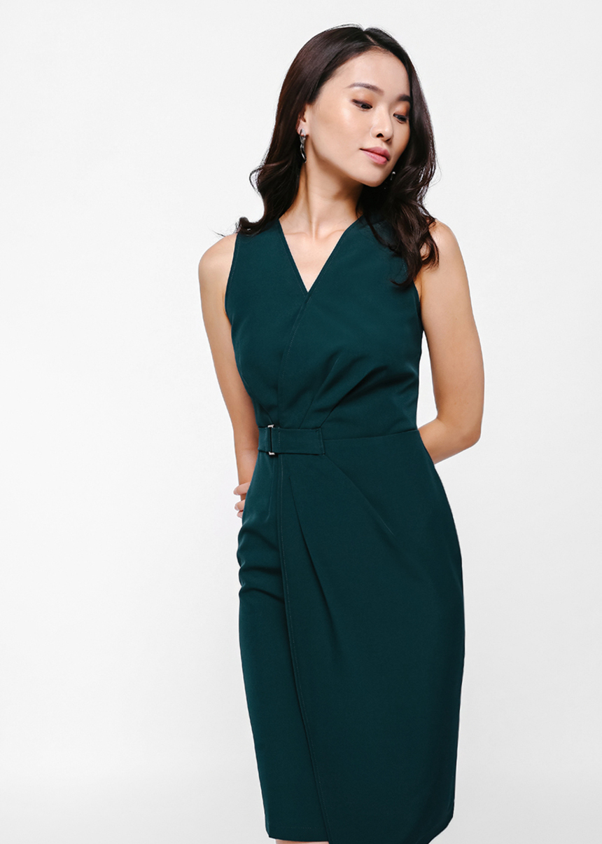 Quandra Ruched Wrap Dress