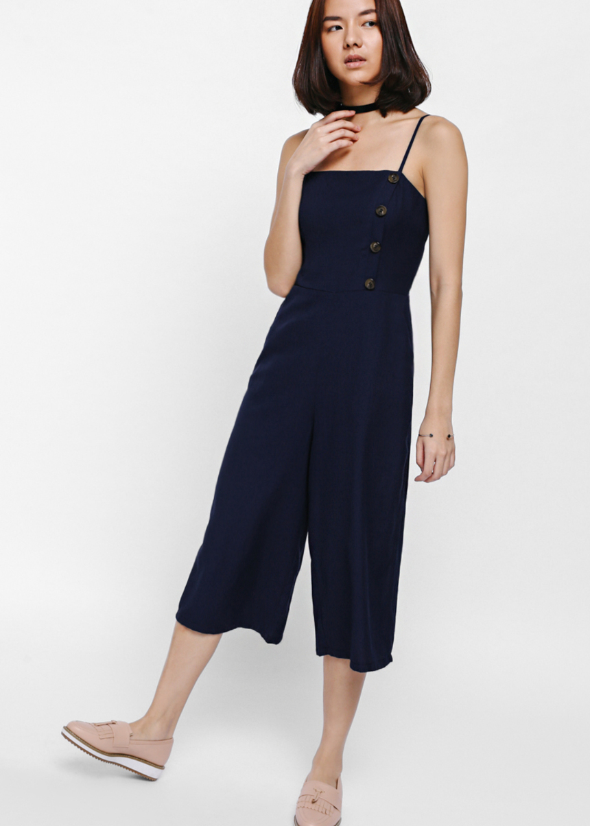 Jennea Front Button Midi Jumpsuit
