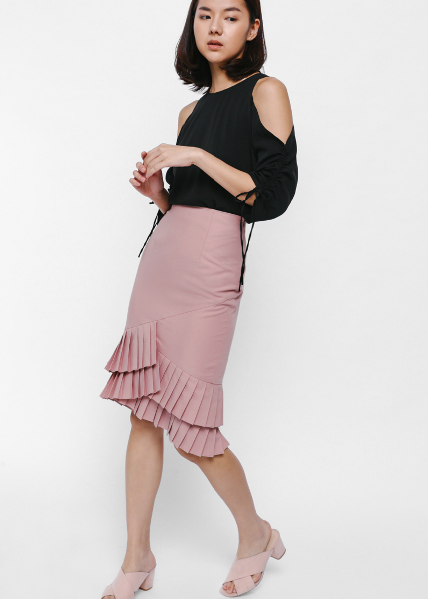 Shediya Asymmetrical Pleated Hem Pencil Skirt