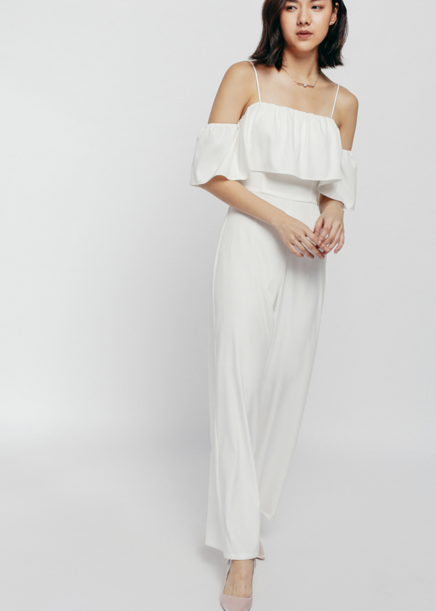 Jobeha Ruffle Layered Off Shoulder Jumpsuit