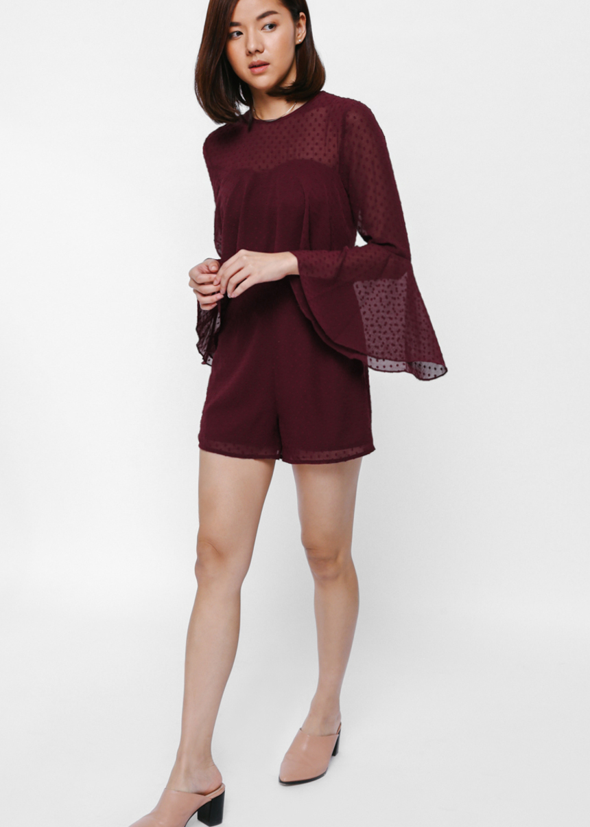 Plouina Bell Sleeve Mesh Layered Playsuit