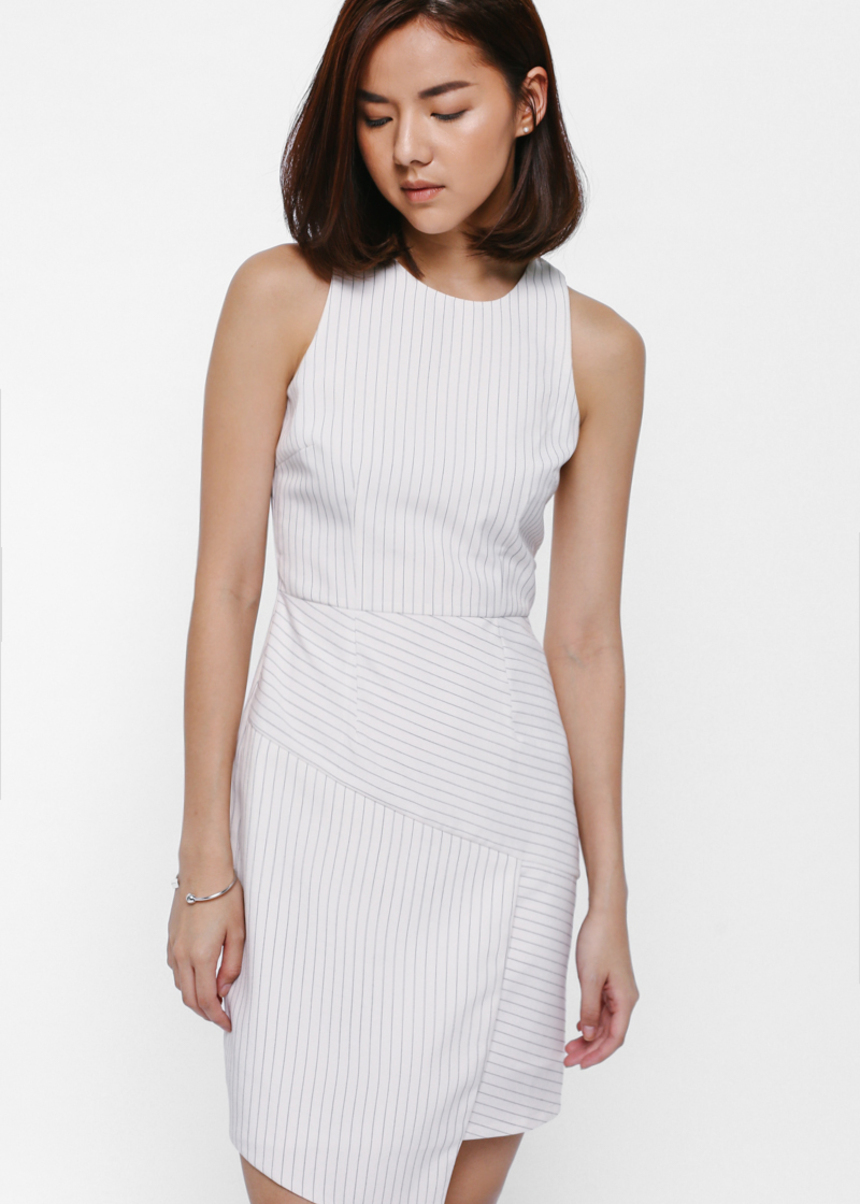 Greste Pinstriped Asymmetrical Dress