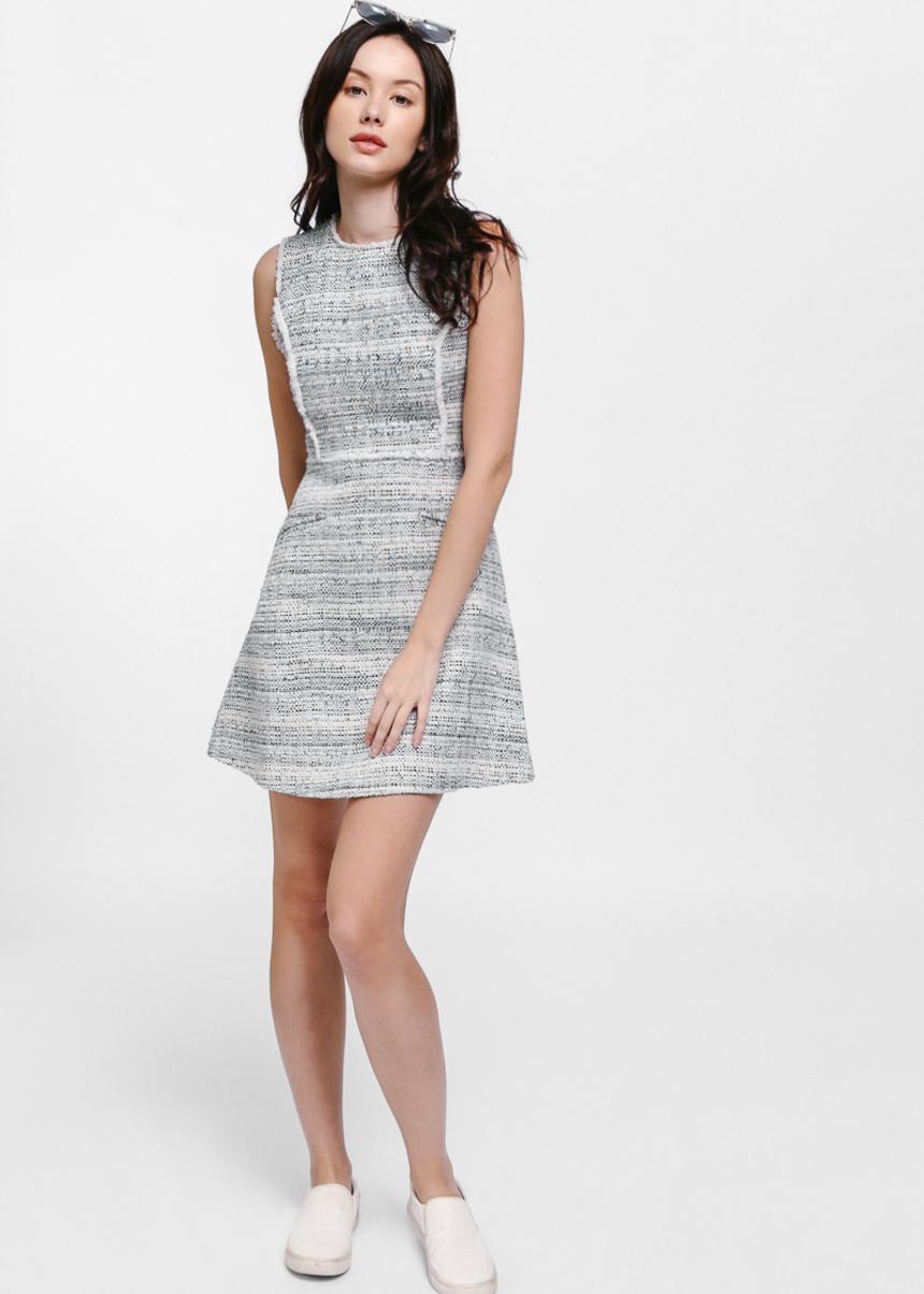 Defayne Contrast Trim Tweed Dress