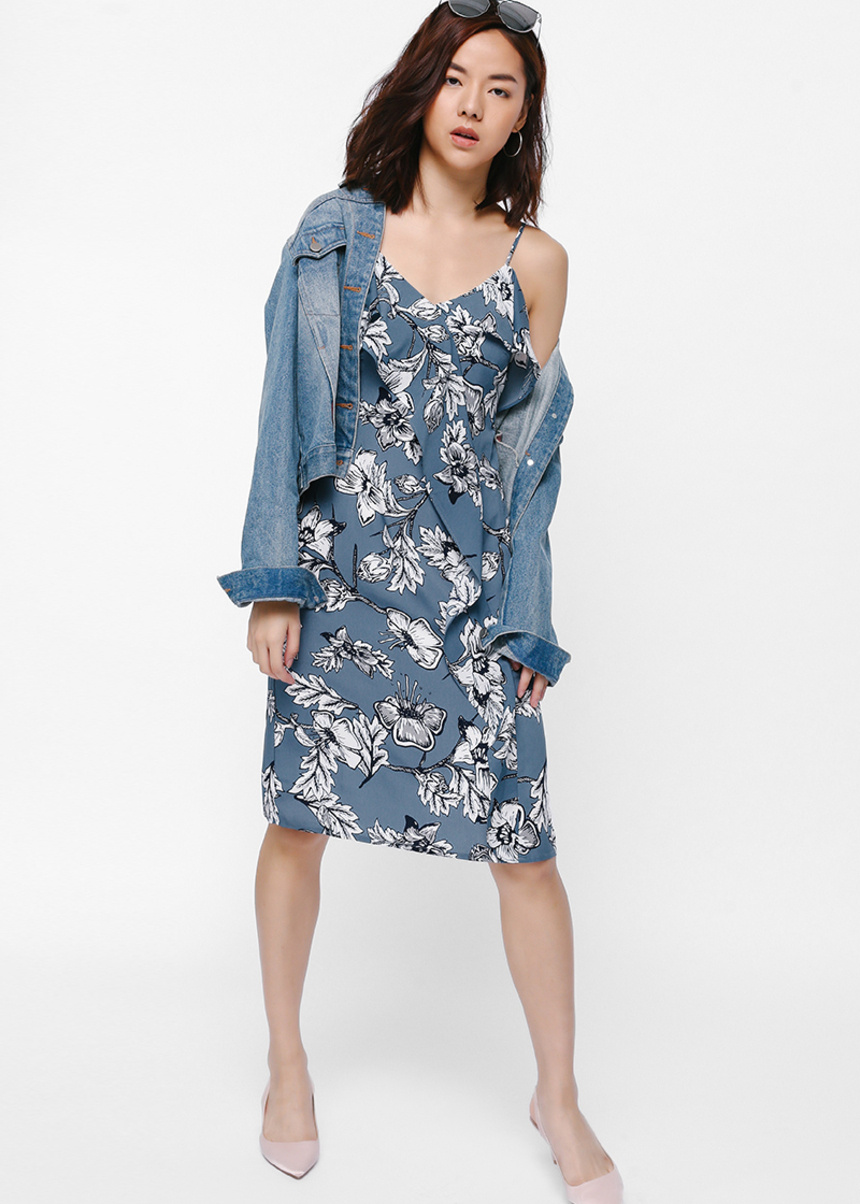 Manix Cascade Ruffle Floral Dress