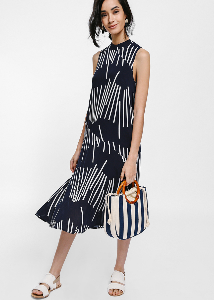 Heora High Neck Printed Midi Dress