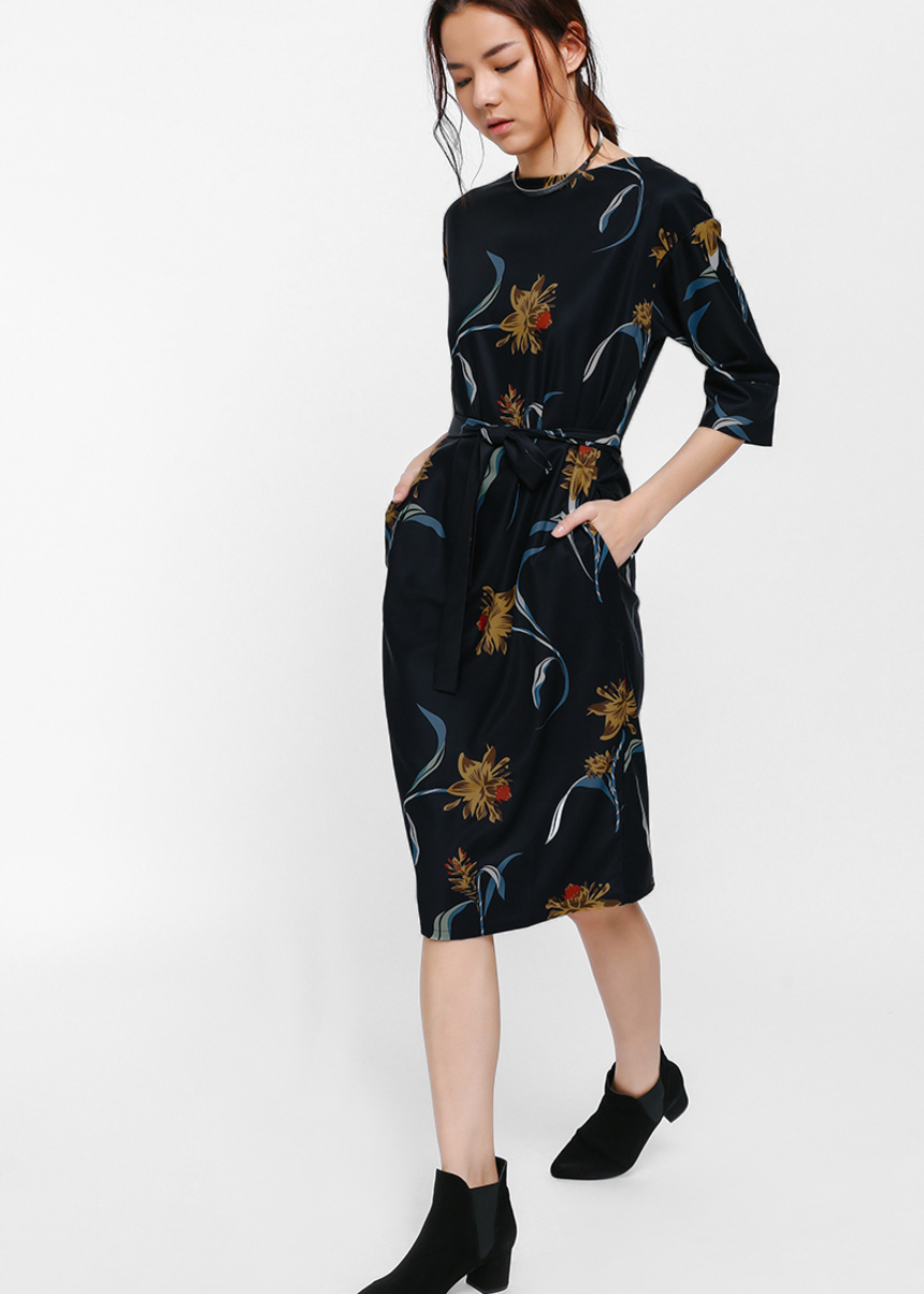 Kerri Printed Sash Midi Dress