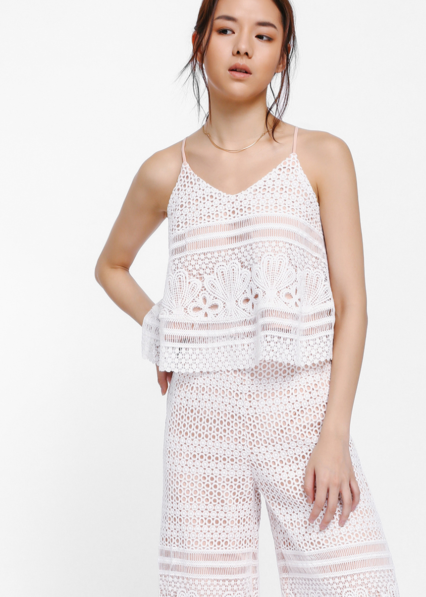 Ayanala Crochet Lace Overlay Camisole
