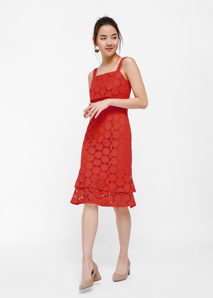 Omellei Overlay Midi Dress