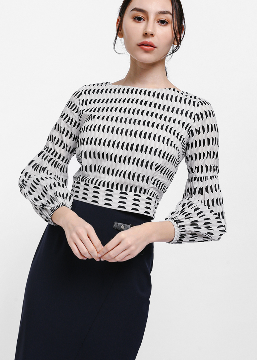 Gione Printed Tie Back Balloon Sleeve Top