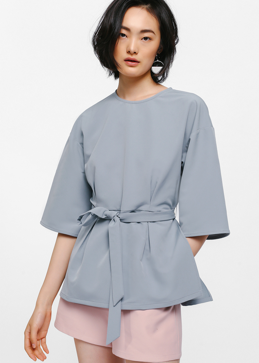 Exley Flutter Sleeve Sash Top