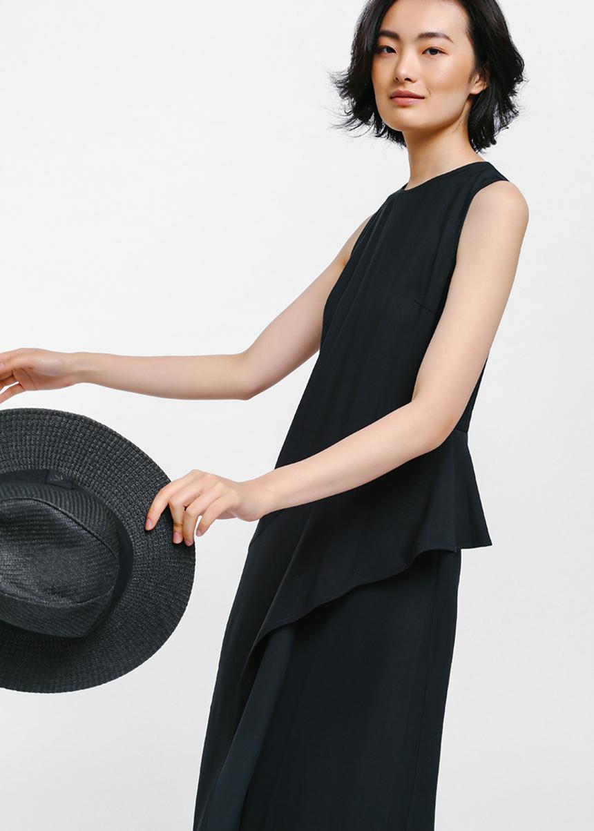 Qyetta Asymmetrical Frill Maxi Dress
